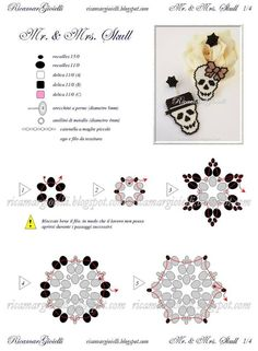 Free Mr. and Mrs. Skull Halloween Beaded Earrings Pattern by Ricamar Gioielli featured in recent Bead-Patterns.com Newsletter!