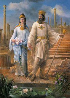 داریوش اول و همسرش آتوسا