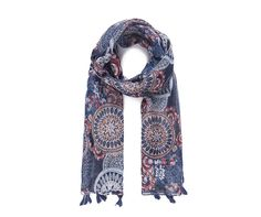 LADIES BLUE MULTI BATIK LOOK PAISLEY ABSTRACT PRINT BOHO TASSLED SCARF WRAP