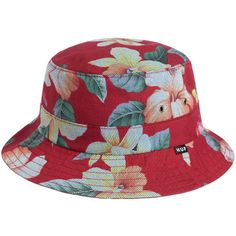 674fccf3ad7 HUF The Aloha Aina Bucket Hat in Red ( 40) ❤ liked on Polyvore featuring  mens