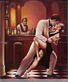 """""""Tango del Encuentro"""" by Roberto Gatti (Argentine painter) Shall We Dance, Lets Dance, Blackpool, Tango Art, Mode Poster, Tango Dancers, Dancing Drawings, Dance Paintings, Argentine Tango"""