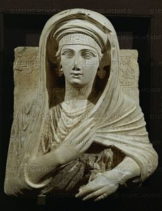 Aqmat, daughter of Hairan. Relief bust of white limestone (2nd half 2nd CE) from the tomb of Shallamallat, western necropolis of Palmyra, Syria. 60 x 50 cm Inv. 1758/6582   National Museum, Palmyra, Syria