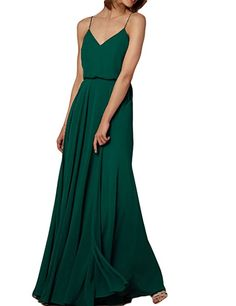 Vivian's Bridal Chffion V-Neck Spaghetti Straps Maxi Evening Bridesmaid Dress Dark Green 8