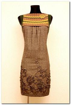 Sukienka Tweed Melanż OLIWKA / KHAKI ŻÓŁTY w agaartpl  na DaWanda.com