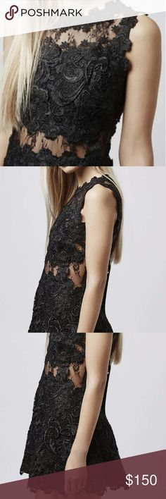 NWT Topshop black lace structured skater dress Reposh. Too large. Debating whether to alter her to fit. Never worn.  Bust 16 inches.  Length 31 inches.  Waist 14 inches. Topshop Dresses Mini