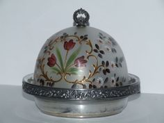 Antique Enameled Mt. Washington satin Glass Covered Butter Dish
