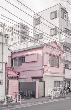 pink ~ white ~ house ~ town ~ summer