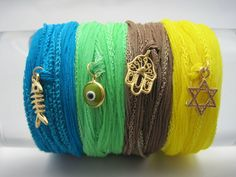 Hamsa Wish Charm On Silk Cord Wrap Style No by zahavblue on Etsy, $38.00