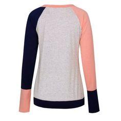 Amazon Burst Round Necklace Long Leeve Pocket T Shirt - PINK XL