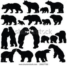 bears silhouette collection - vector - stock vector