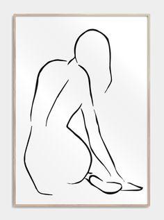 One line drawing plakat med en nøgen kvindekrop der sidder med ryggen til. Outline Art, Outline Drawings, Pencil Art Drawings, Abstract Drawings, Art Sketches, Line Drawing Art, Line Art Design, Simple Line Drawings, Easy Drawings