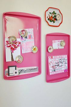 Bulletin boards DIY Neat idea to spray paint the cookie sheets.  Neat idea for dorm room. If room walls are concrete hot glue to wall. Remove with putty knife in spring. If you would want to have push pin (cork board like) cover foam board (Dollar Tree) with paper or material. Use two broads back to back.  Use painters tape to secure covering around foam board.