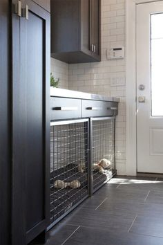 Dog Kennels in Laundry Room