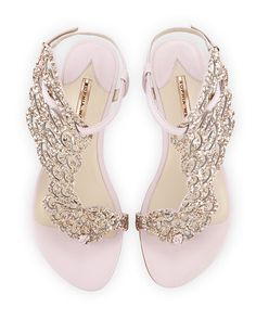 Sophia Webster, Seraphina Angel-Wing Flat Sandal in Pink Glitter, $475 via Neiman Marcus