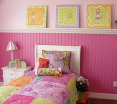 Bright Pink girls bedroom! Love the two shades of pink!