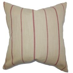 "Simple and understated, this indoor pillow offers endless comfort to your home. Adorned with red stripes against a neutral background, this 18"" pillow adds a chic geometric style to your living space."