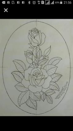 Floral Embroidery Patterns, Rose Embroidery, Hand Embroidery Designs, Embroidery Stitches, Painting Patterns, Fabric Painting, Art Sketches, Art Drawings, Flower Art Drawing