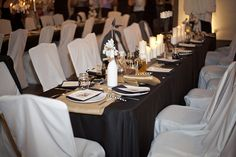 Our black and white table decor.