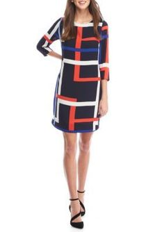 Vince Camuto Navy Red Geometric Printed Chiffon Shift Dress