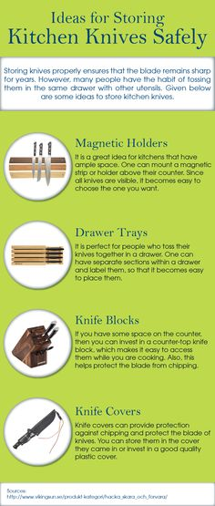 After use of knives if they are not stored properly, then they may lose their sharpness. To maintain the knives for a longer period of time, one must store them in knife box, knife holders, drawer trays and magnetic strips.