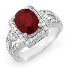 3 Ct GIA Certified Red Ruby & Diamond Oval Cut Platinum Solitaire Engagement Ring - Click to find out more - http://gioweddingrings.com/3-ct-gia-certified-red-ruby-diamond-oval-cut-platinum-solitaire-engagement-ring/