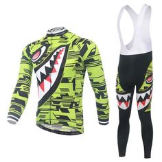 Men's Neon Shark Long Sleeve Cycling Jersey Set #Cycling #CyclingGear #CyclingJersey #CyclingJerseySet