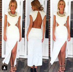 White Plain Irregular Cut Out Backless Cap Sleeve Floor Length Cotton Dress
