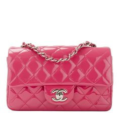 Chanel Small Classic Flap Quilted Patent Bag in Fuchsia Pink #chanel