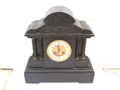 French Marble Case Drum Movement Striking Mantle Clock