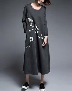 #AdoreWe #VIPme Shift Dresses - QILI Fashion Deep Gray Long Sleeve Printed Midi Dress - AdoreWe.com