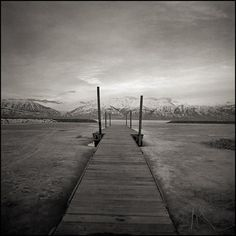 Black and White Landscapes and Seascapes Photographs - Harbor Bay, Utah Lake - by Brandon Allen