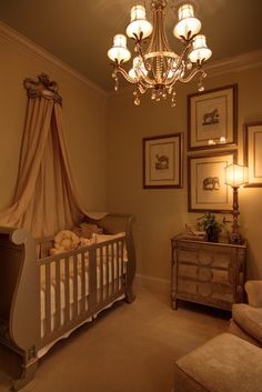 Elegant Babies Nursery with Mirrored Furniture and Sleigh Bed Crib (would lose the drapery/crown)