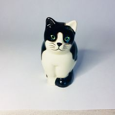 """Black and White Fat Cat Figurine, Bertie Cat, Quail Discontinued Ceramic Fat Cat, Cat Figurine, 3"""" Tall, Green Eyed Black and White Cat by MindieshackVintage on Etsy"""