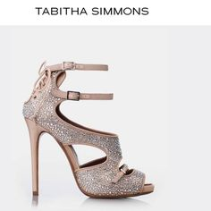 Tabitha Simmons Fabulous Satin/ Crystal 4.5 Heels Tabitha Simmons Smoking Hot...Bailey  Flesh Satin & Crystal Heels with Lace up back Detail!  Made in Italy..Superb Quality! Worn once... Spectacular Heels with a 4.5 Inch Satin Heel!  Comes with original Box and Both Shoe bags!  Sells at Neiman Marcus for $1345!  OS Tabitha Simmons Shoes Heels