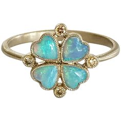 Oreste Dalben - Dalben Four-Leaf Clover Little Ring Contemporary Brown Diamond,opal Gold Clover Ring, Four Leaf Clover, Diamond Rings For Sale, Opal Jewelry, Jewellery, Jewelry Rings, Charm Rings, Diamonds And Gold, Antique Rings