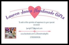 Lauren-Janes Handmade gifts is a Wedding Supplier of Hen Party, Favours & Gifts. Are you planning your Big Day and looking for wedding items, products or services? Why not head over to MyWeddingContacts.co.uk and take a look at Lauren-Janes Handmade gifts's profile page to see what they have to offer. Helping make your wedding day into a truly Amazing Day. Oh, and good luck and best wishes with your Wedding.