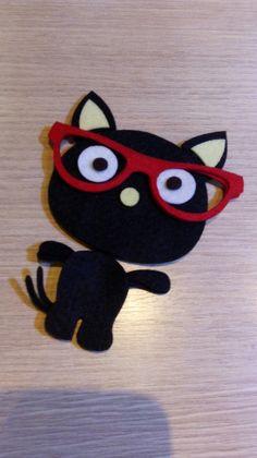 Recorte em feltro Gatinho de óculos  Enviamos pelo correio