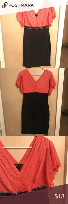 Sparkly dress Cute dress stretchy and sparkly. Coral color on the top and black on the bottom. Perfect for wedding season. Enfocus Studio Dresses Midi