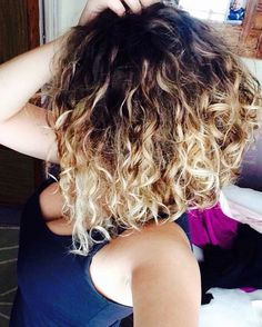 Natural curly hair lob balayage