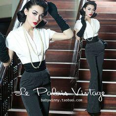 Le Palais Vintage Stripe High Waist Waistband Wide Leg Pants - Designed by Winny… Pin Up Retro, Look Retro, Retro Fashion, Vintage Fashion, Womens Fashion, 1950s Fashion Pants, Female Fashion, Mode Outfits, Fashion Outfits
