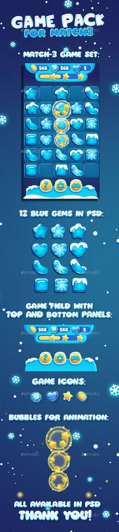 Snow Christmas Cartoon Match3 Gems and GUI (Game Kits)