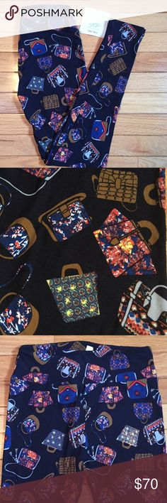 🦄 Purses and satchels and totes OH MY!! LuLaRoe captures the purse lover in all of us in these awesome buttery soft leggings. Anyone who loves bags needs to strut in these. Deep black background and the purses are various beautiful vibrant colors. Any questions please ask! LuLaRoe Pants Leggings