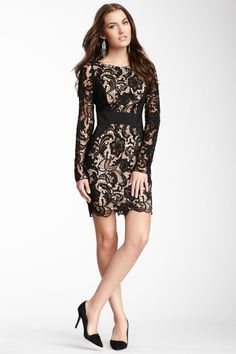 Jessica Simpson Contrast Panel Lace Dress