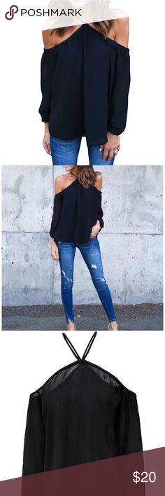 Women's off shoulder halter chiffon top Hilbuco black chiffon top size M - brand new never worn hilbuco Tops Blouses