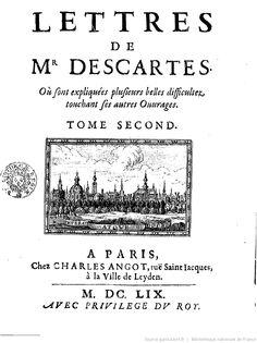 Tomo 2, das cartas do senhor Descartes, 1659.