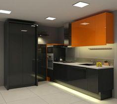 cuisine noire avec carrelage blanc et armoire haute orange