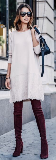 Slightly frayed dress and burgundy over the knee boots. What could be more on trend? Via Annabelle Fleur  Brands: Not Available