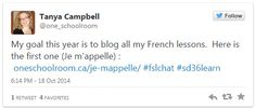 Teacher Tanya Campbell blogs her French lessons (see link for the blog).