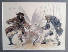Hermann - Original colour illustration - Diable des sept mers (sketchbook) -  W.B.