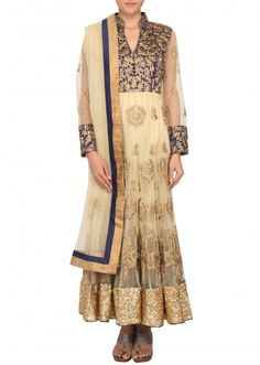 Beige anarkali suit embellished in zari and sequence embroidery only on Kalki